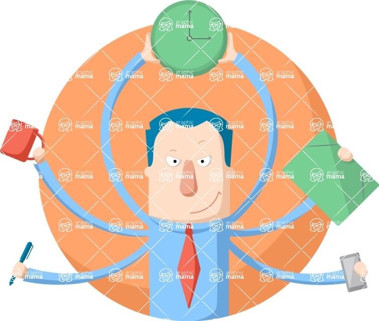 Vector Business Graphics - Mega Bundle - Multitasking Businessman Flat Illustration