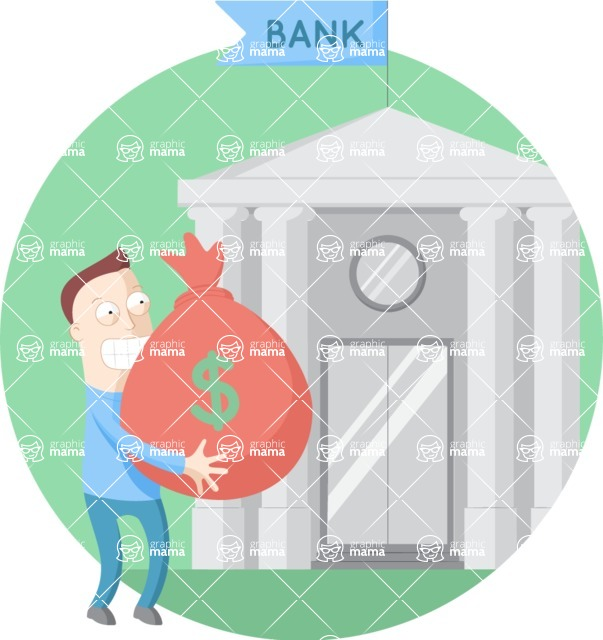 Vector Business Graphics - Mega Bundle - Man In Front of Bank