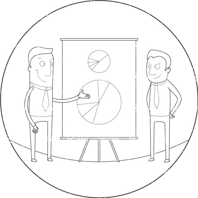 Vector Business Graphics - Mega Bundle - Businessman Presenting a Chart Outline