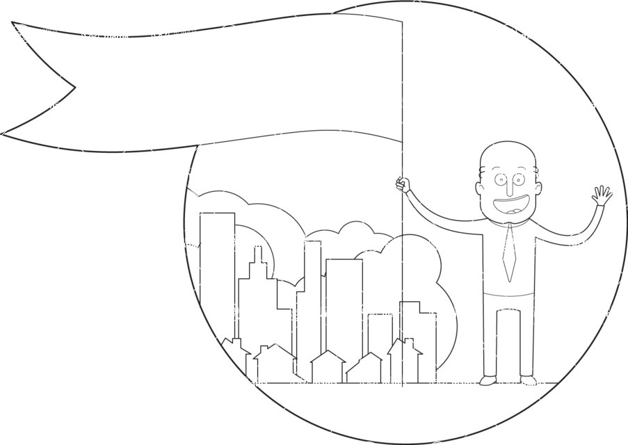 Vector Business Graphics - Mega Bundle - Outline Businessman with a Flag