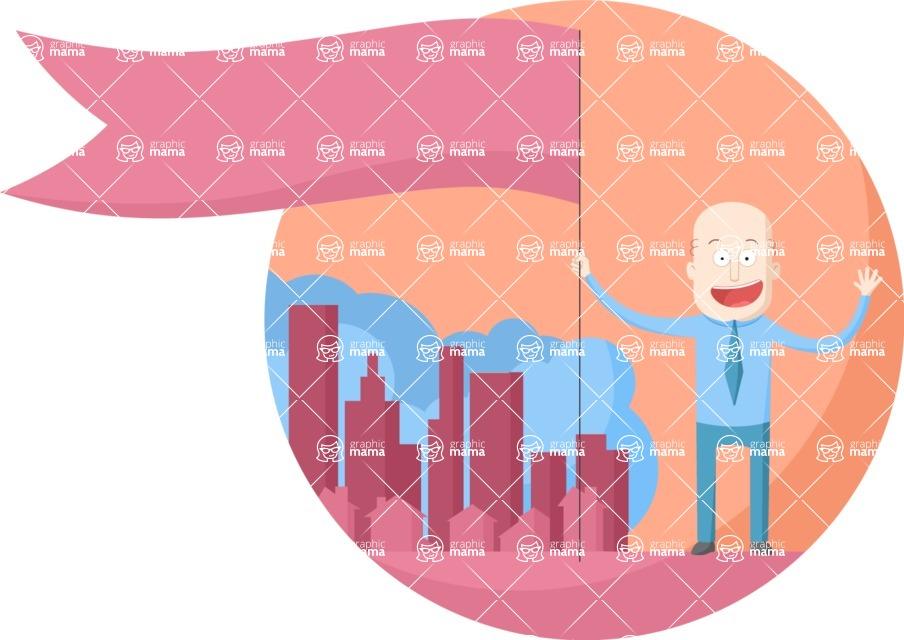 Vector Business Graphics - Mega Bundle - Businessman Holding a Big Flag