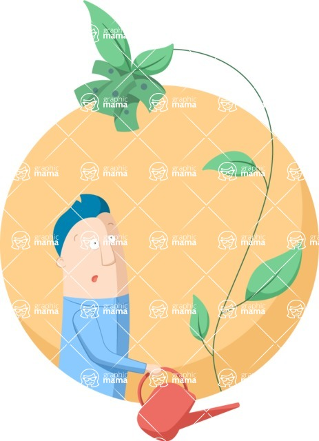 Vector Business Graphics - Mega Bundle - Man Watering a Money Plant