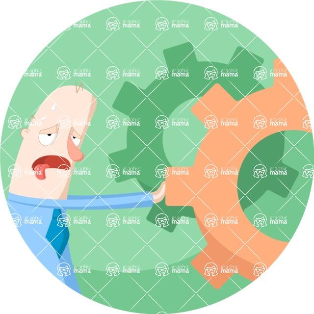Vector Business Graphics - Mega Bundle - Tired Businessman Flat Illustration