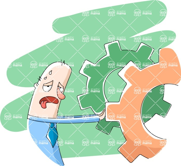 Vector Business Graphics - Mega Bundle - Tired Man Pushing Gear Wheels