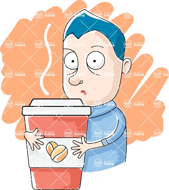 Vector Business Graphics - Mega Bundle - Tired Man Holding Coffee