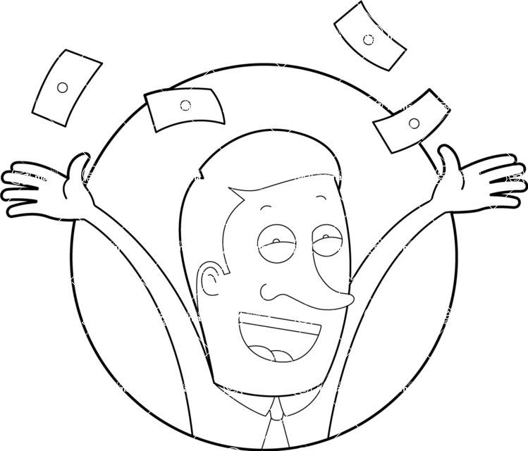 Vector Business Graphics - Mega Bundle - Outline Man Throwing Money