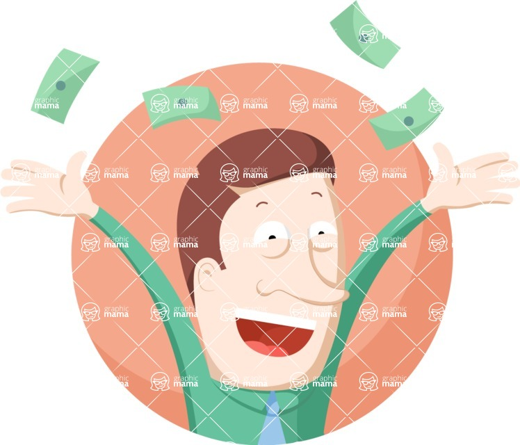 Vector Business Graphics - Mega Bundle - Man Throwing Money Flat Illustration