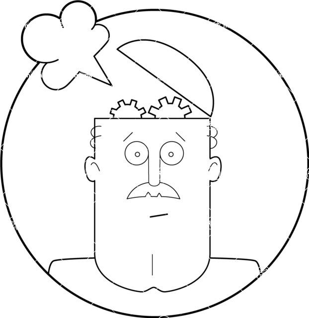 Vector Business Graphics - Mega Bundle - Outline Man with a Cogwheel Brain