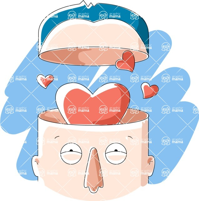 Vector Business Graphics - Mega Bundle - Man With Open Head in Love
