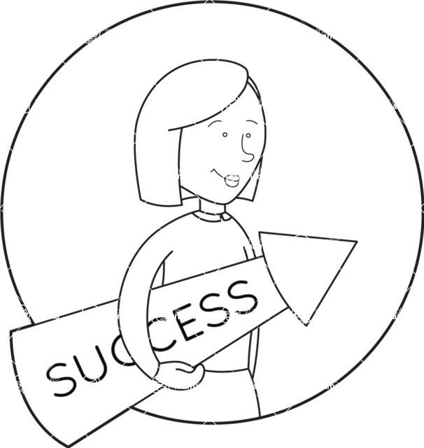 Vector Business Graphics - Mega Bundle - Outline Woman With a Success Arrow