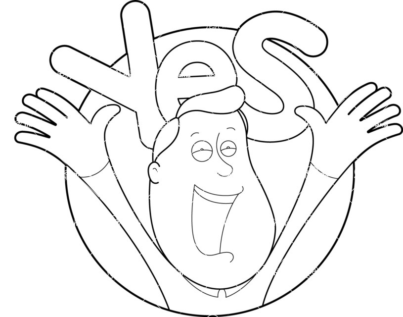 Vector Business Graphics - Mega Bundle - Outline Happy Man Cheering