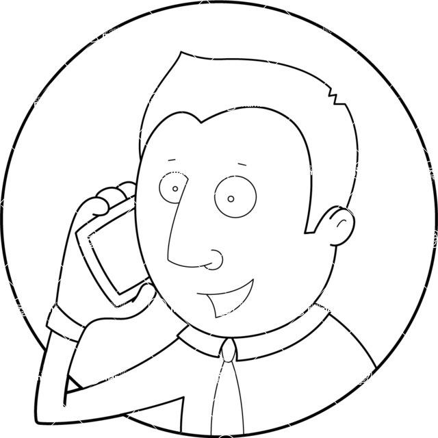 Vector Business Graphics - Mega Bundle - Outline Businessman on the Phone
