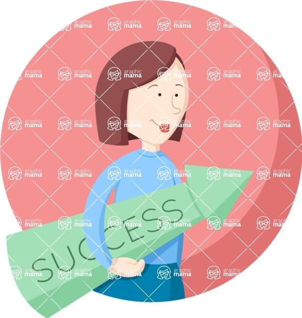 Vector Business Graphics - Mega Bundle - Flat Woman With a Success Arrow