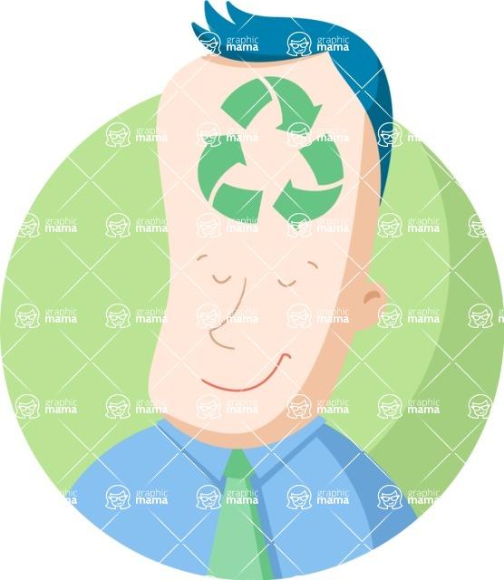 Vector Business Graphics - Mega Bundle - Businessman with Recycle Symbol Flat Illustration