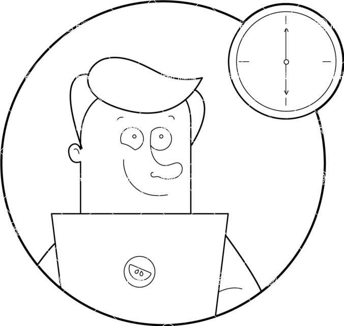 Vector Business Graphics - Mega Bundle - Outline Man Looking at Clock