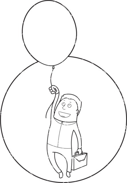 Vector Business Graphics - Mega Bundle - Outline Man Flying With a Balloon
