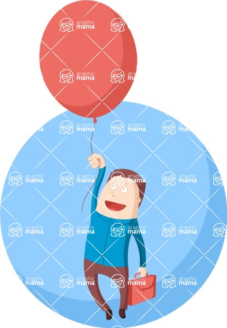 Vector Business Graphics - Mega Bundle - Businessman With a Balloon Flat Illustration