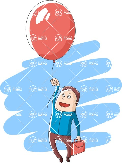 Vector Business Graphics - Mega Bundle - Businessman Flying With a Balloon