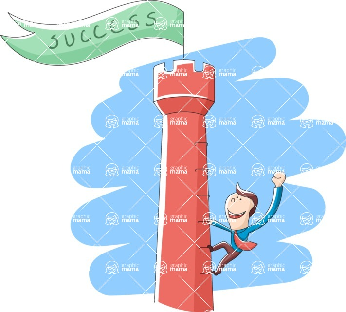 Vector Business Graphics - Mega Bundle - Businessman Climbing Up a Tower
