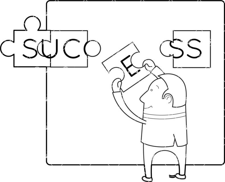 """Vector Business Graphics - Mega Bundle - Outline Man Building Puzzle """"Success"""""""