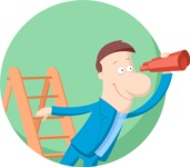 Business: Quest for Success - Businessman on a Ladder Flat Illustration