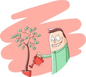 Business: Quest for Success - Happy Man Watering a Money Tree