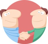 Business: Quest for Success - Men Handshaking Flat Illustration