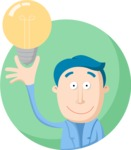 Business: Quest for Success - Man Having an Idea Flat Illustration