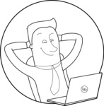 Vector Business Graphics - Mega Bundle - Outline Man Leaning Back in Office Chair