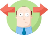 Business: Quest for Success - Hesitating Man Flat Illustration