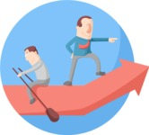 Business: Quest for Success - Leader on a Boat Flat Illustration