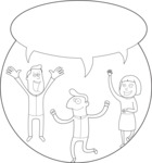 Business: Quest for Success - Crowd With Speech Bubble Outline