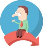 Business: Quest for Success - Sad Man Flat Illustration