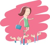 Business: Quest for Success - Woman Walking on a Crowd