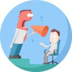 Business: Quest for Success - Boss Yelling at Employee Flat Illustration