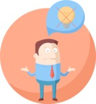 Business: Quest for Success - Confused Businessman with No Ideas Flat Illustration