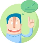 Business: Quest for Success - Man and a Graph Chart Flat Illustration