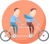 Business: Quest for Success - Businessmen on a Bike Flat Illustration