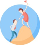 Business: Quest for Success - Climbing a Hill Flat Illustration