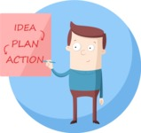 Business: Quest for Success - Man With a Business Plan Flat Illustration