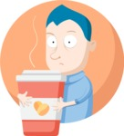 Business: Quest for Success - Man Holding a Big Coffee Cup