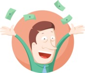 Business: Quest for Success - Man Throwing Money Flat Illustration