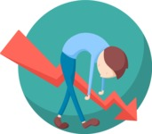 Business: Quest for Success - Sad and Stooped Man Flat Illustration