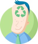 Business: Quest for Success - Businessman with Recycle Symbol Flat Illustration