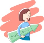 Business: Quest for Success - Woman Holding a Success Arrow