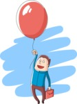 Business: Quest for Success - Businessman Flying With a Balloon