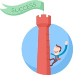 Business: Quest for Success - Climbing Tower To Success Flat Illustration