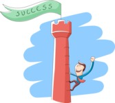 Business: Quest for Success - Businessman Climbing Up a Tower