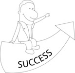 Business: Quest for Success - Outline Man On a Success Arrow