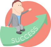 Business: Quest for Success - Man Sitting on Success Arrow Flat Illustration